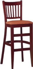 Hants Wooden High Stool with Slatted Back & Upholstered Seat